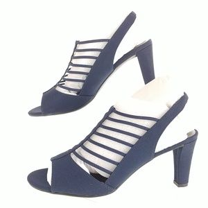 IMPO Womens Shoes Navy Sling Back High Heels Micr